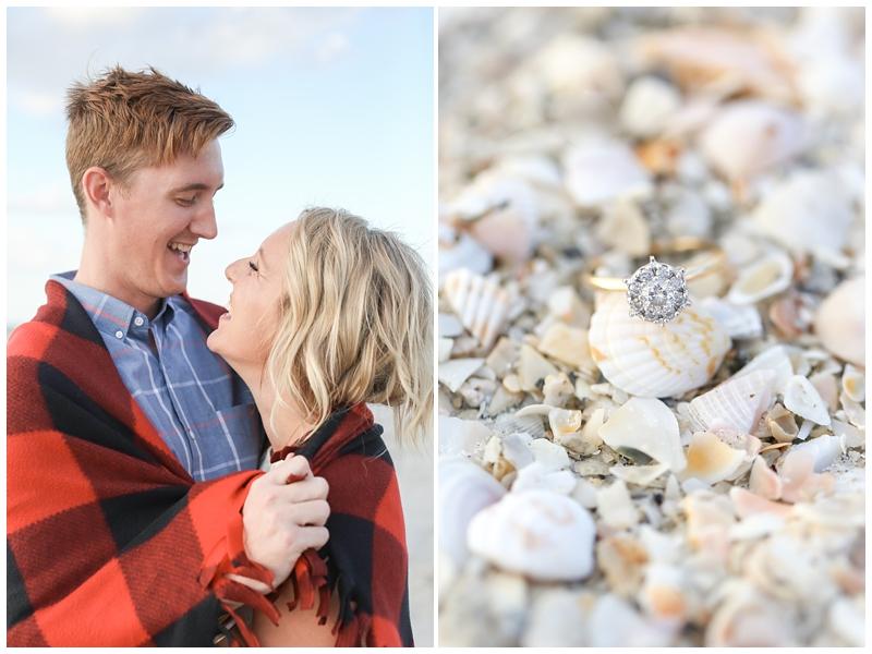 Engagement ring in seashells beach