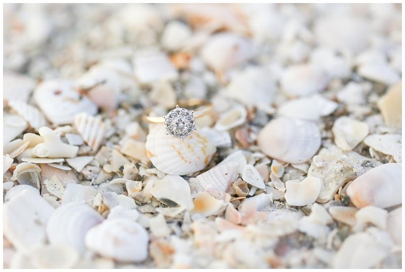 Diamond ring on seashell