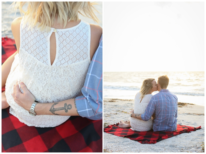 Sunset fall beach engagement session