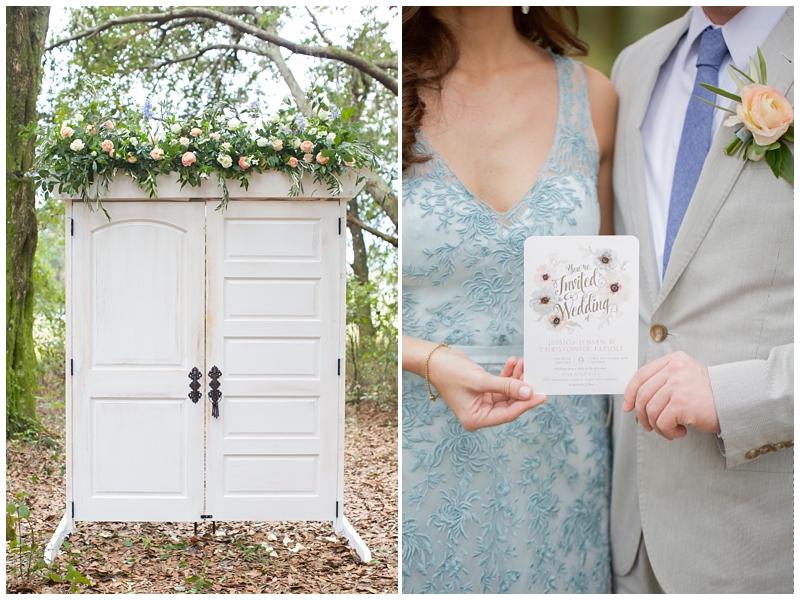 white doors wedding altar