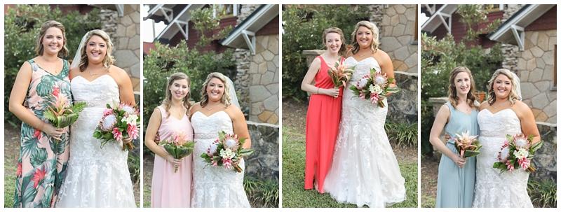 Tropical mismatching bridesmaid dress
