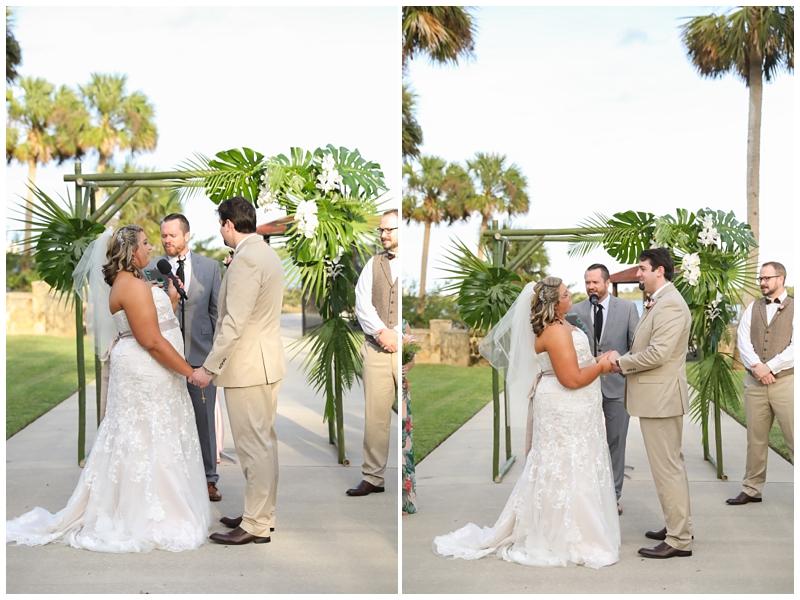 Tropical palm trees wedding