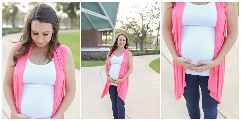 white and pink maternity outfit