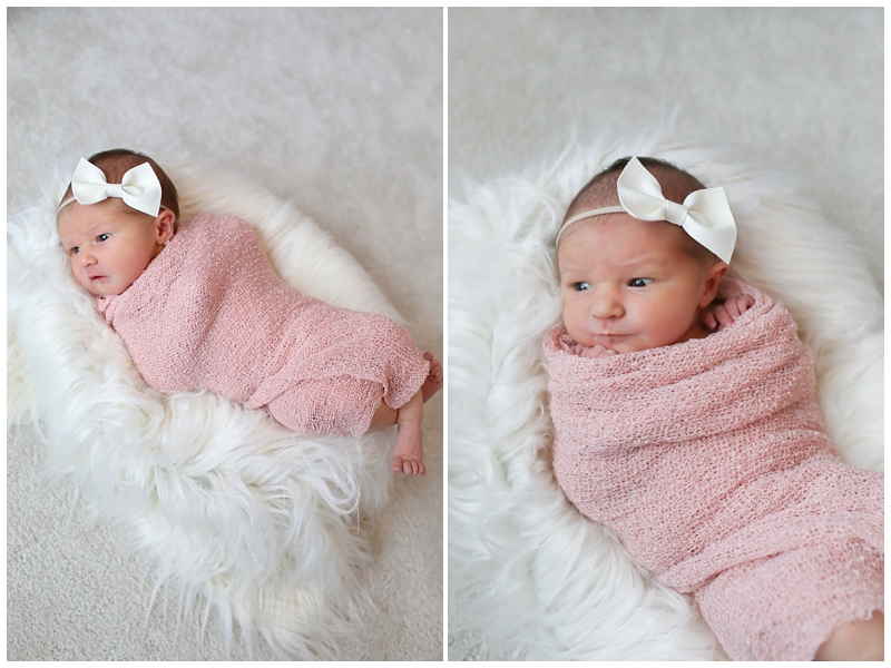 Newborn girl fur basket