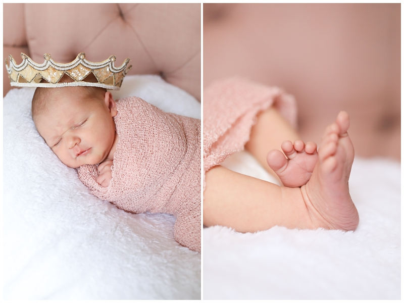 Newborn baby girl crown toes