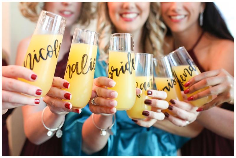Bridesmaids mimosa flutes