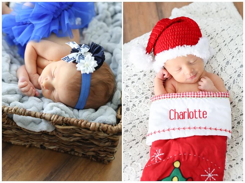 Newborn Photos in Christmas Stocking