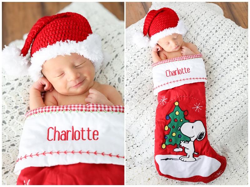 Newborn baby in Christmas Stocking