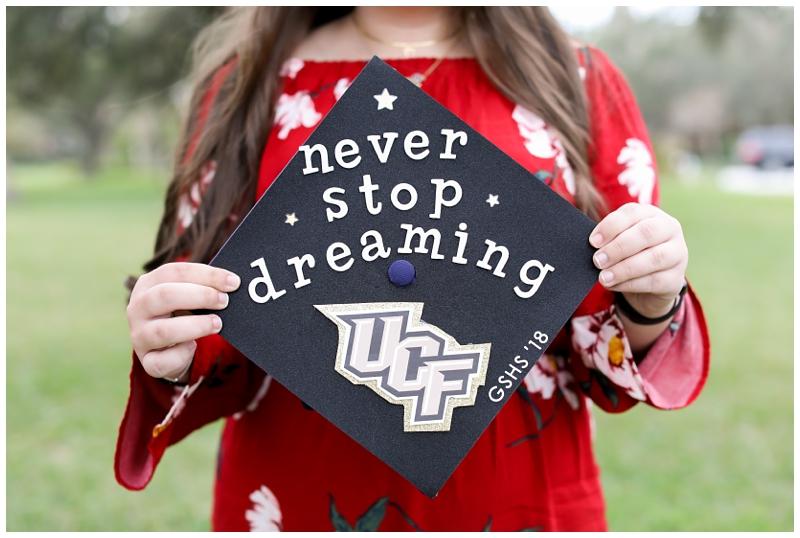 Never Stop Dreaming graduation cap
