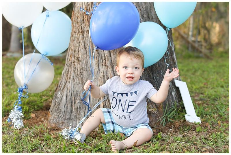 Blue balloons birthday one year