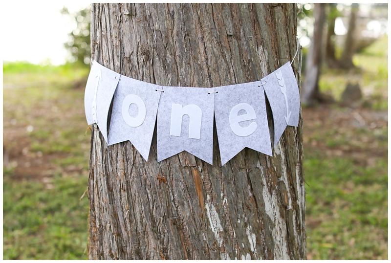 Gray White One Year birthday banner