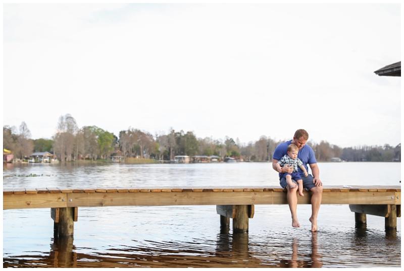Father son lake dock