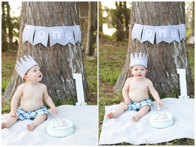 One year boy cake smash