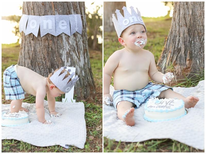 Outdoors cake smash first birthday