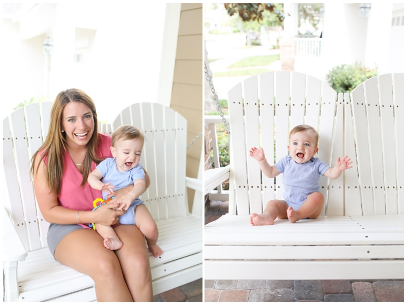 Outdoor porch swing mom and baby