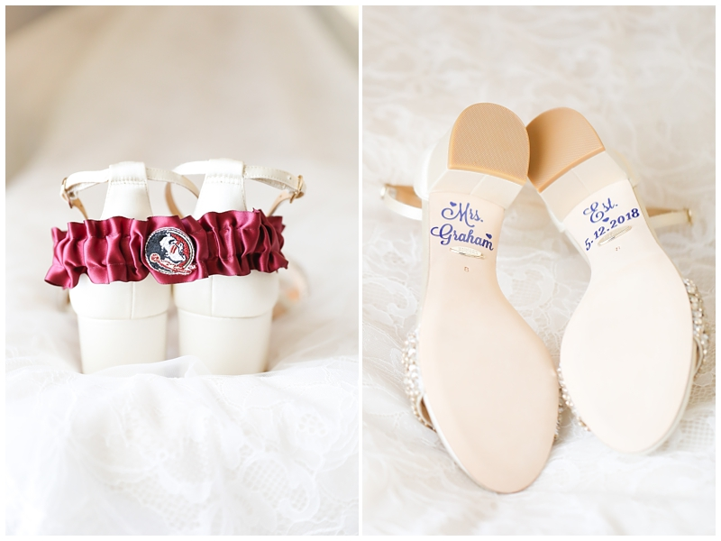 Seminole garter Name bottom of bridal shoes