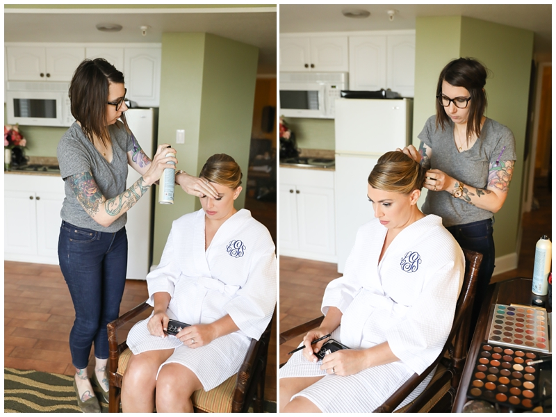 Bride getting hair done, Monogrammed robe