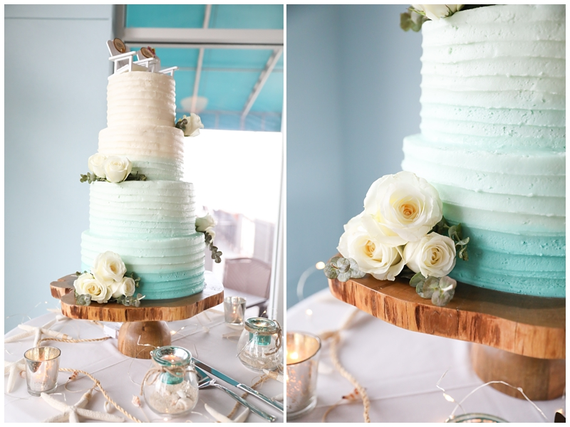 Blue white ombre wedding cake