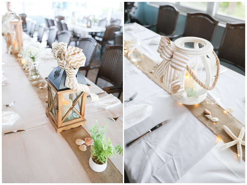 White tan nautical wedding centerpieces