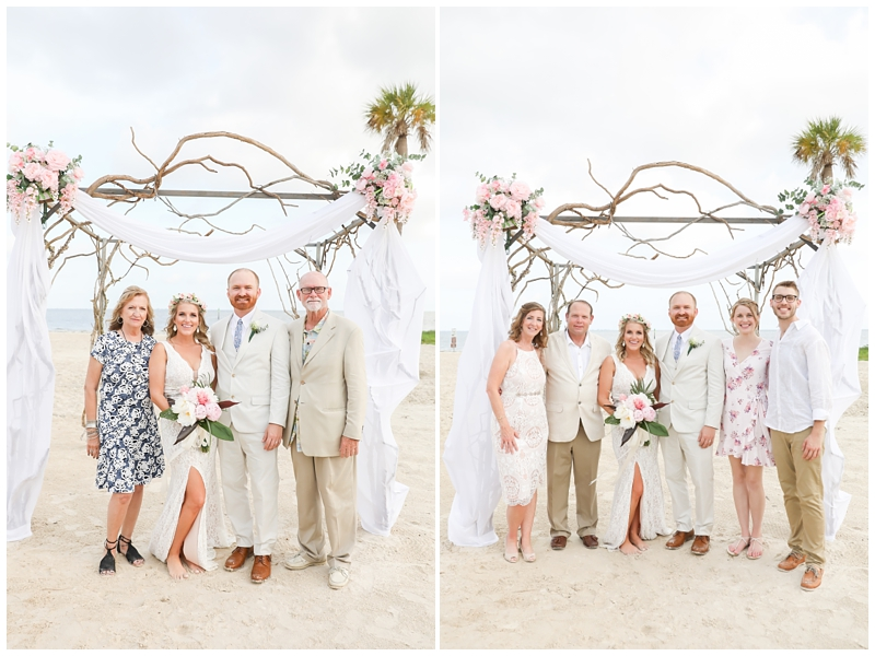 Tampa beach wedding family photos