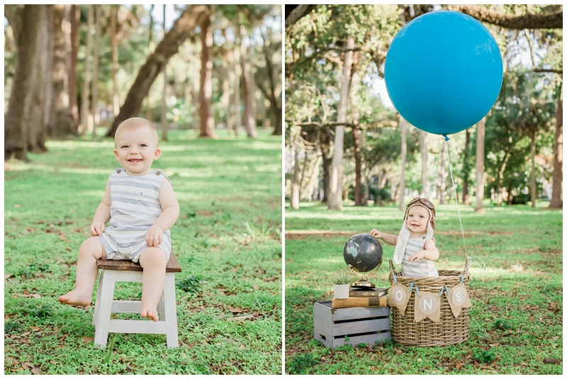 Hot air balloon first birthday photos