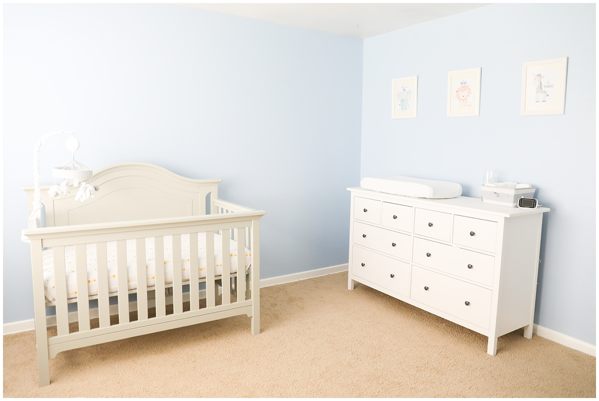 White and blue boy nursery