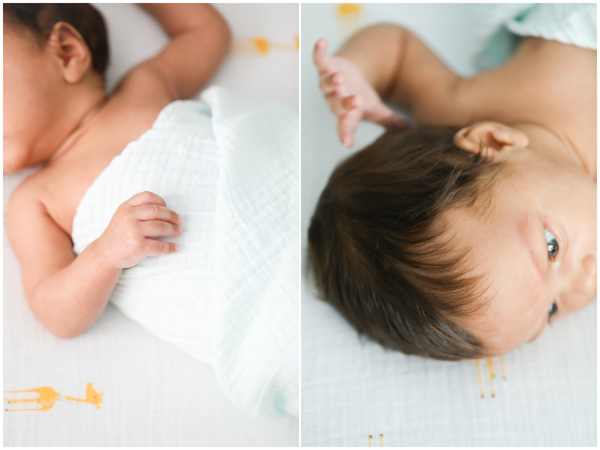 Baby details newborn session