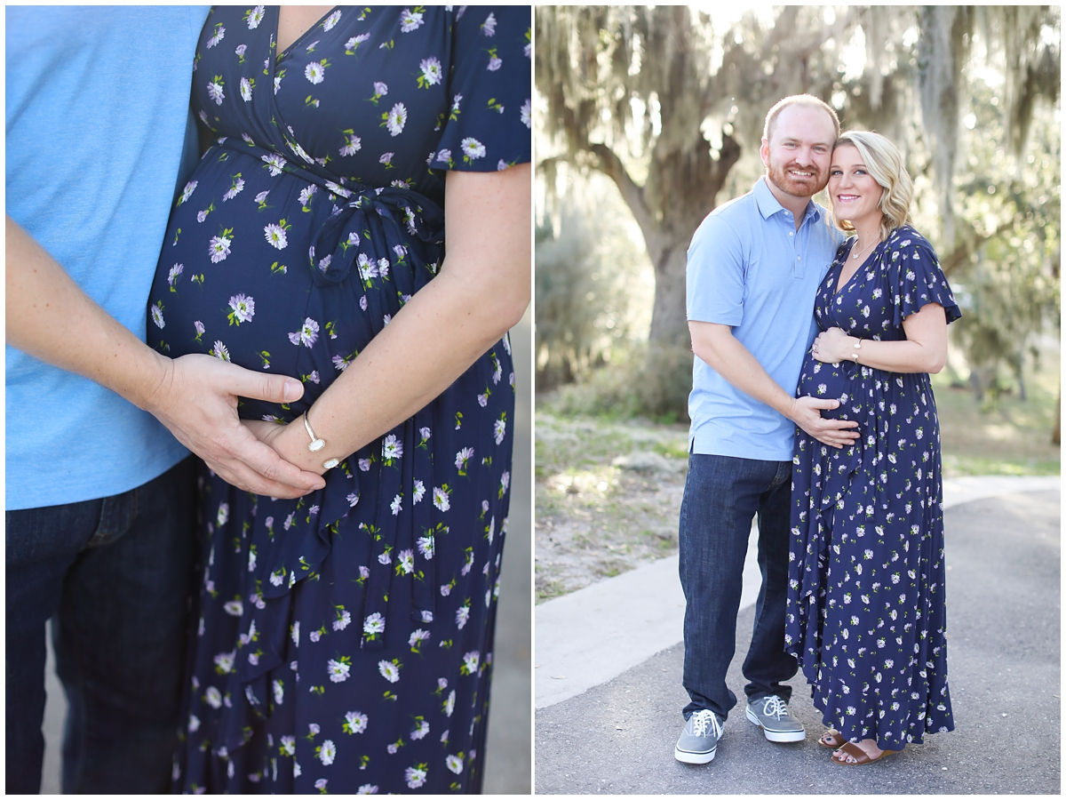 Navy Blue floral maternity dress