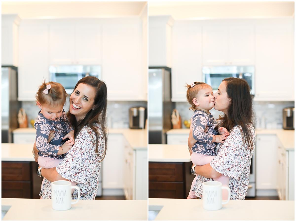 Mama toddler hug in kitchen