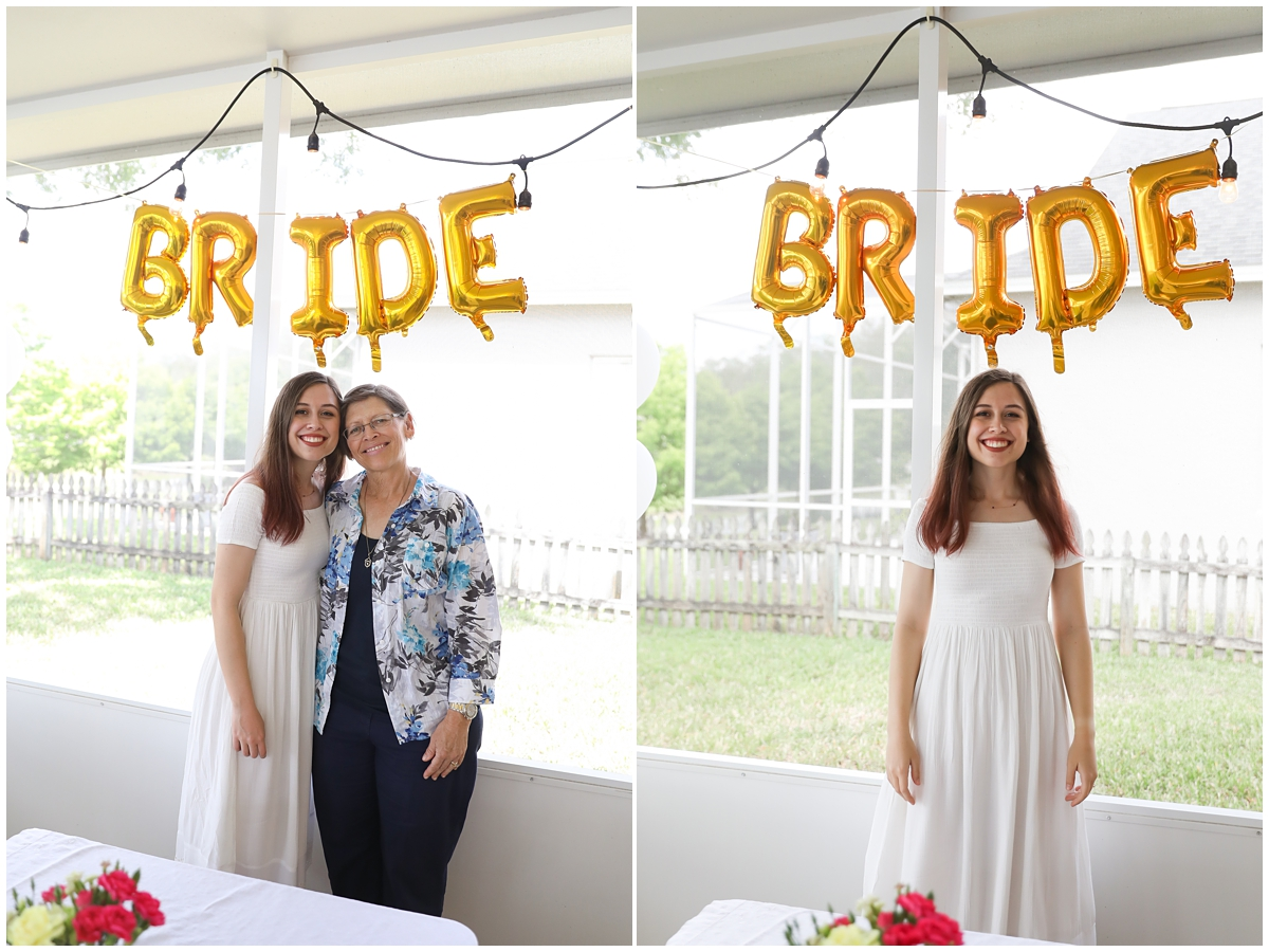 Bride with mom at bridal shower