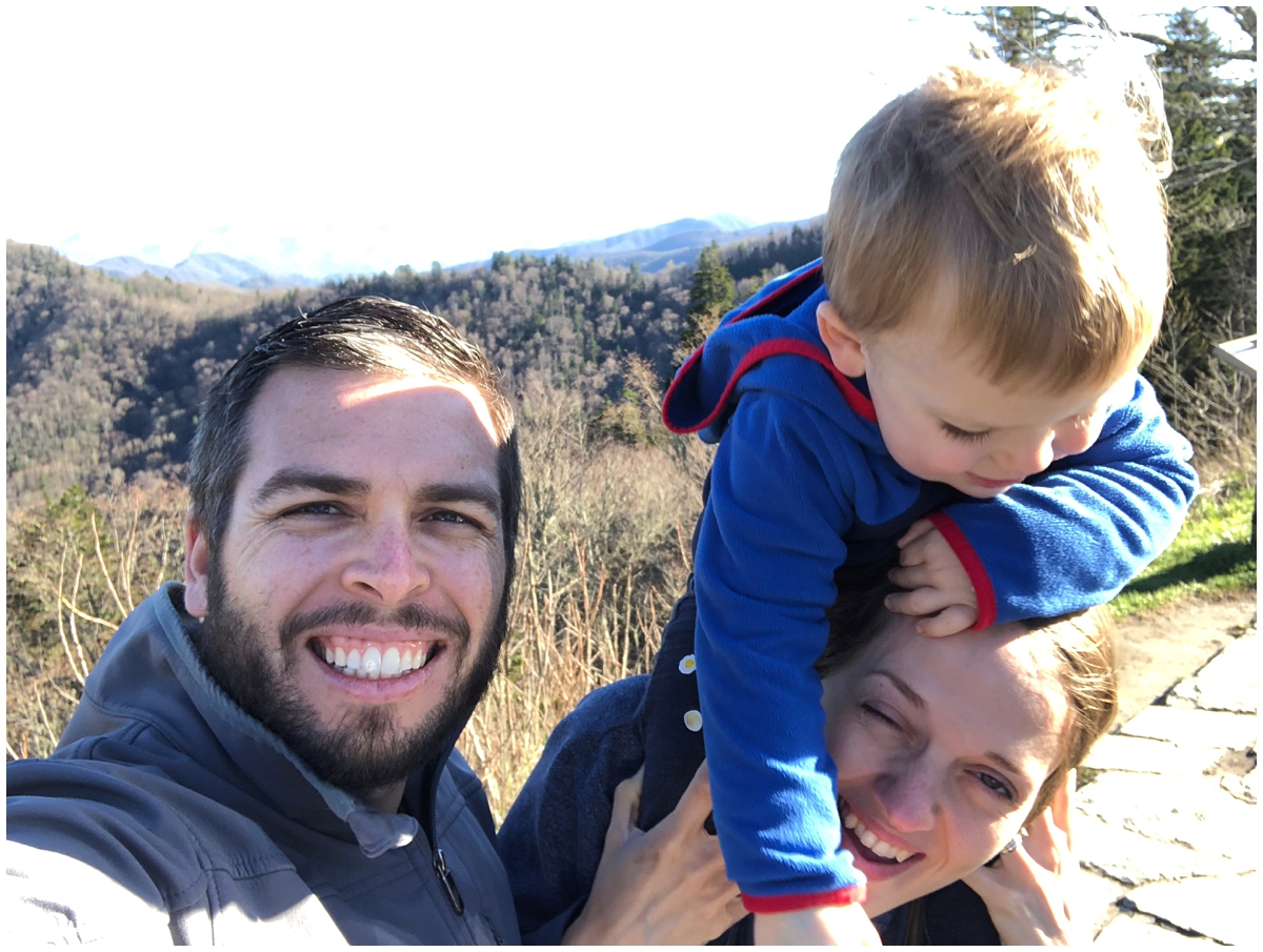 Family selfie with a toddler fail
