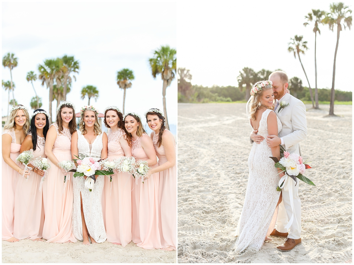 Pink blush maxi bridesmaid dress flower crowns