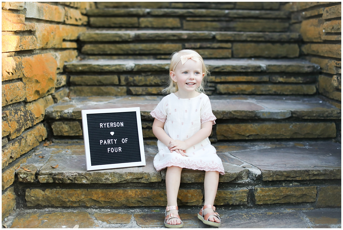 Party of Four letter board maternity photo