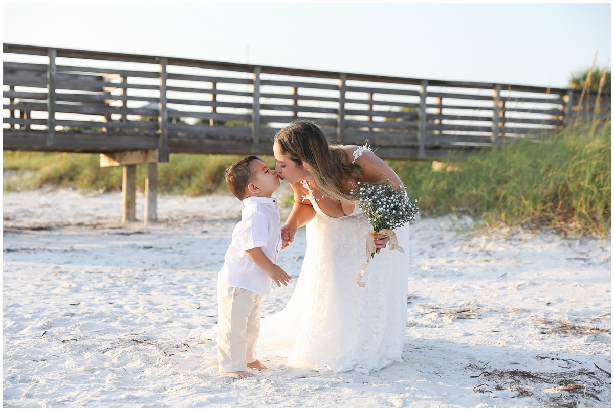 Mother son beach elopement