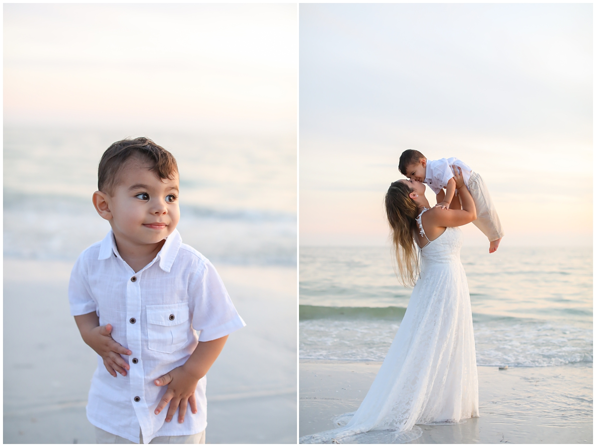 Mother Son beach wedding portraits
