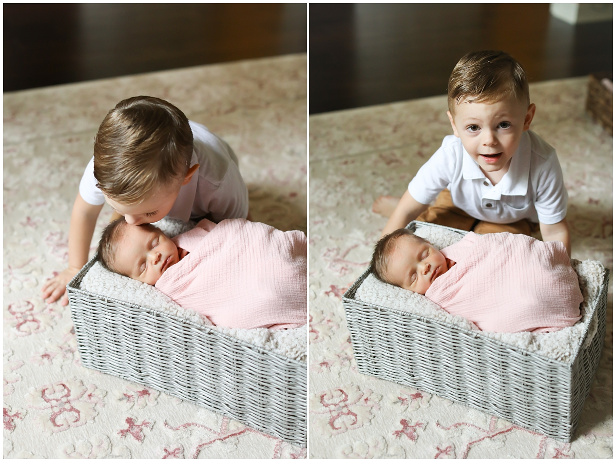 Big brother baby sister newborn photography