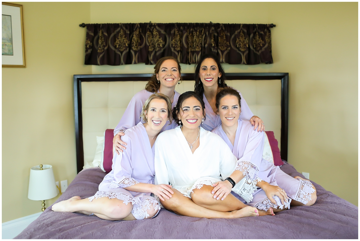 Light purple white lace bridesmaids robes