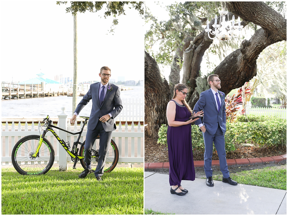 Groom entering ceremony on bike