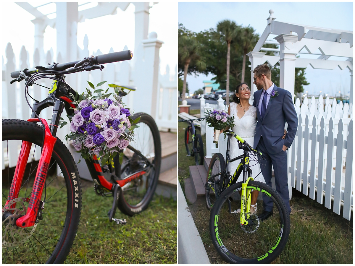 Cycling biking couple wedding day