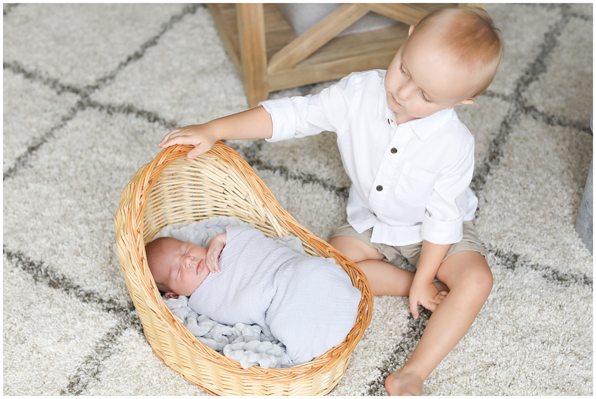 Big brother baby boy newborn photos
